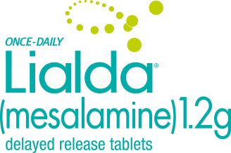 Once-daily Lialda® (mesalamine) 1.2g delayed release tablets logo